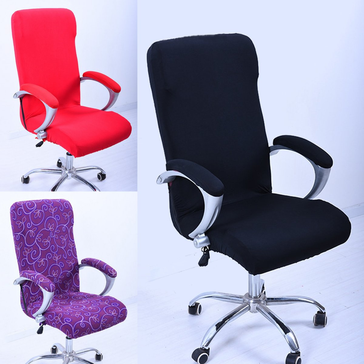 swivel chair covers folding vine elastic spandex office computer cover stretchable rotate seat