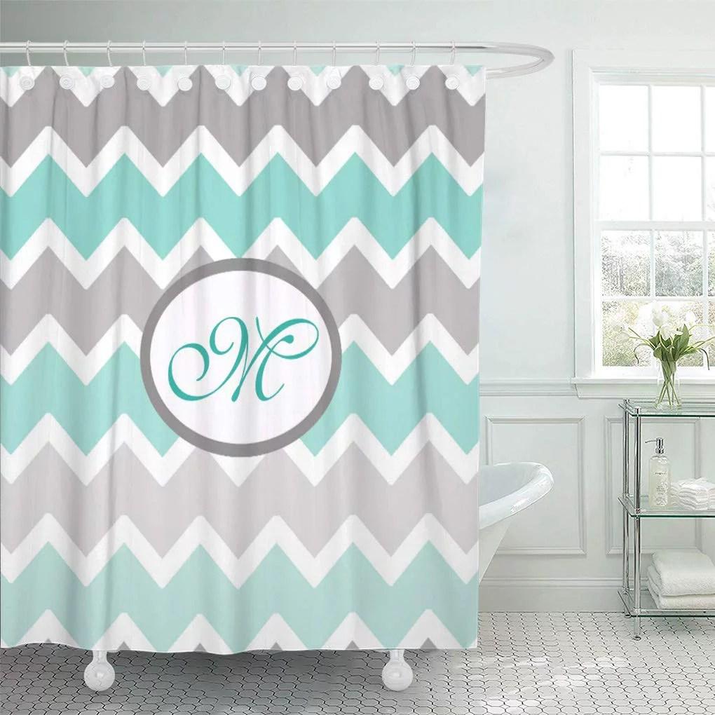 atabie baby personalized monogram aqua blue gray grey nursery shower curtain 66x72 inch