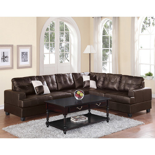 buchannan faux leather sectional sofa with reversible chaise chestnut custom cushion hokku designs - walmart.com