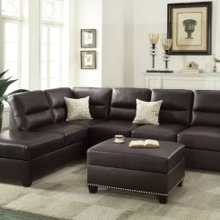 Brown Leather Studded Sofa Recliners Sofas India Simple Relax Sectional Couch Reversible Chaise Ottoman Espresso Bonded Stud Trim Walmart Com