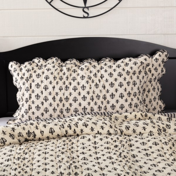 Creme White Farmhouse Bedding Fleur De Lis Cotton Hand