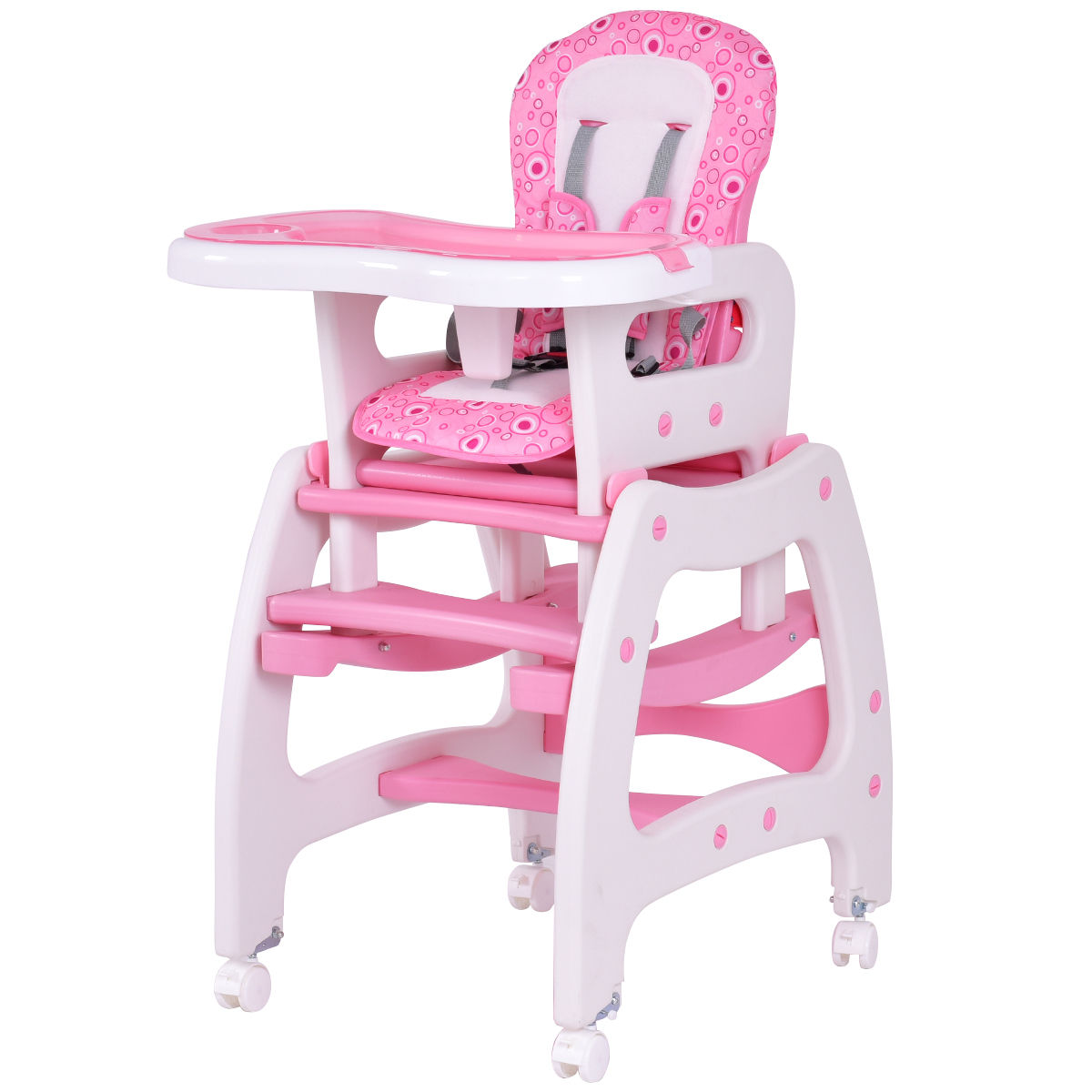 adult baby high chair cover hire east yorkshire costway 3 in 1 convertible play table seat booster toddler feeding tray pink walmart com