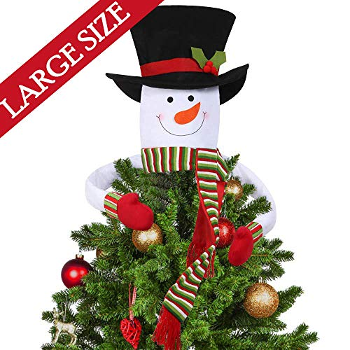 Christmas Tree Topper Snowman Hugger Large Top Hat Outdoor Indoor Novelty Christmas Decorations Xmas Holiday Winter Wonderland Party Home Decor White Walmart Canada