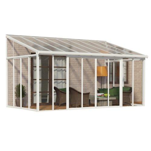 palram sanremo enclosure 10 ft w x 18 ft d aluminum wall mounted patio gazebo