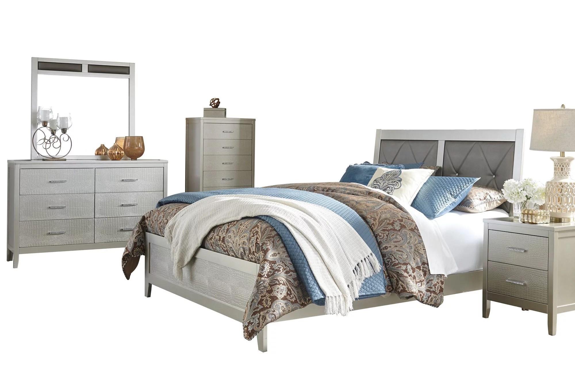 ashley furniture olivet 5 pc bedroom set queen panel bed 1 nightstand dresser mirror chest silver