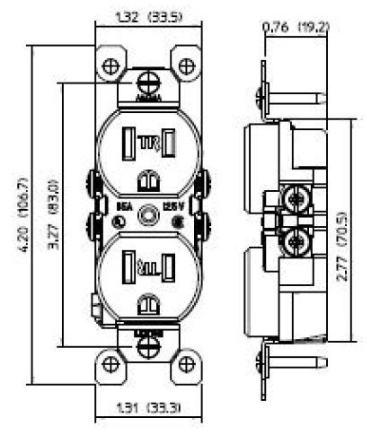 Leviton T5320-TMP 15 Amp 125V Tamper Resistant Duplex