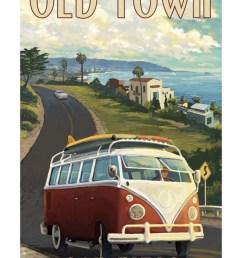 old town san diego california vw van cruise print wall art by lantern press walmart com [ 733 x 1100 Pixel ]