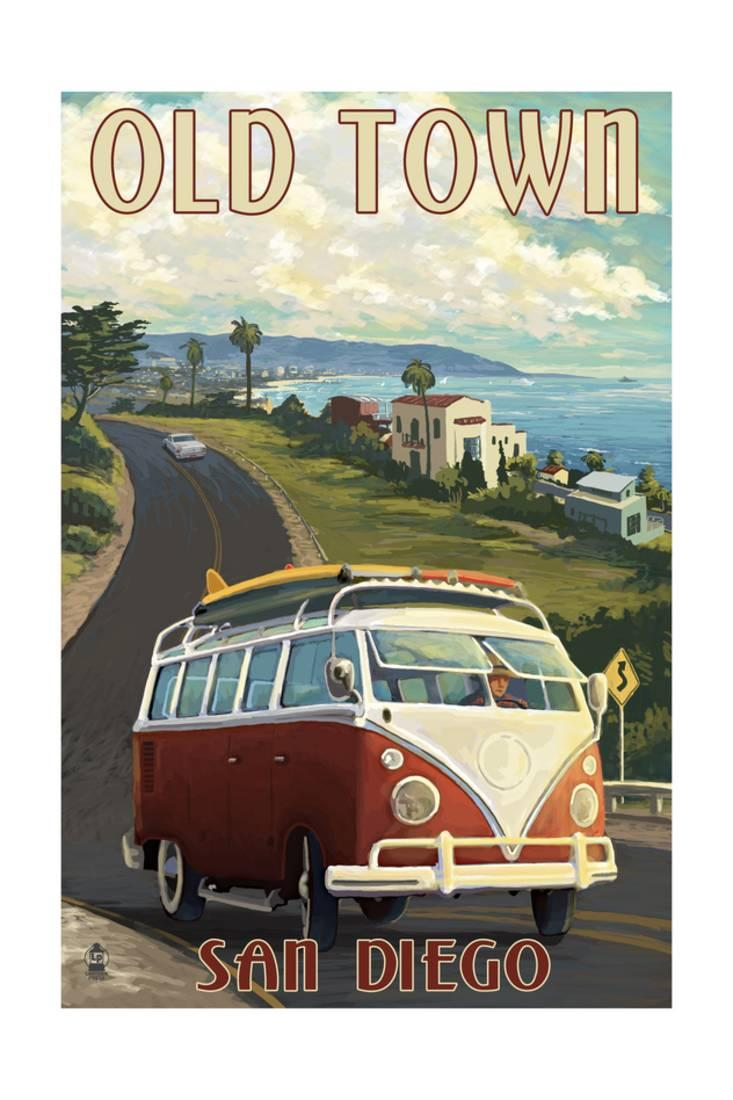 medium resolution of old town san diego california vw van cruise print wall art by lantern press walmart com