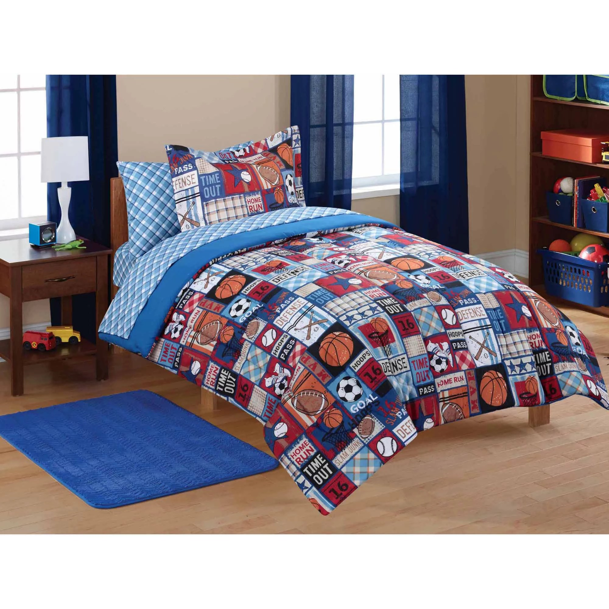 mainstays kids sports patch coordinated bed in a bag 1 each walmart com