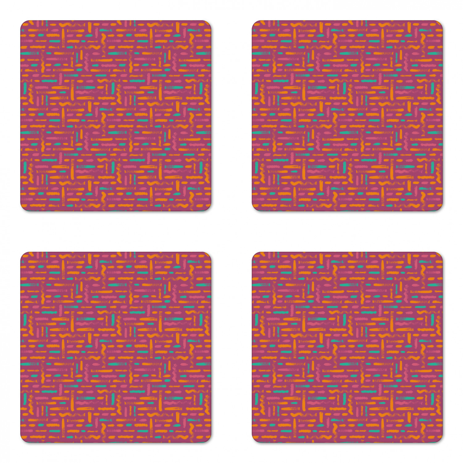 Abstract Coaster Set Of 4 Image Of Horizontal Dashed