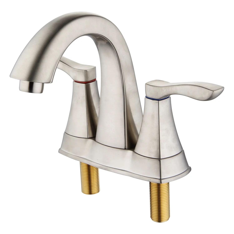innova faucet pf6016 bn wp moonstone brushed nickel centerset 2 handle bathroom faucet with easy install quiknut pop up drain walmart com