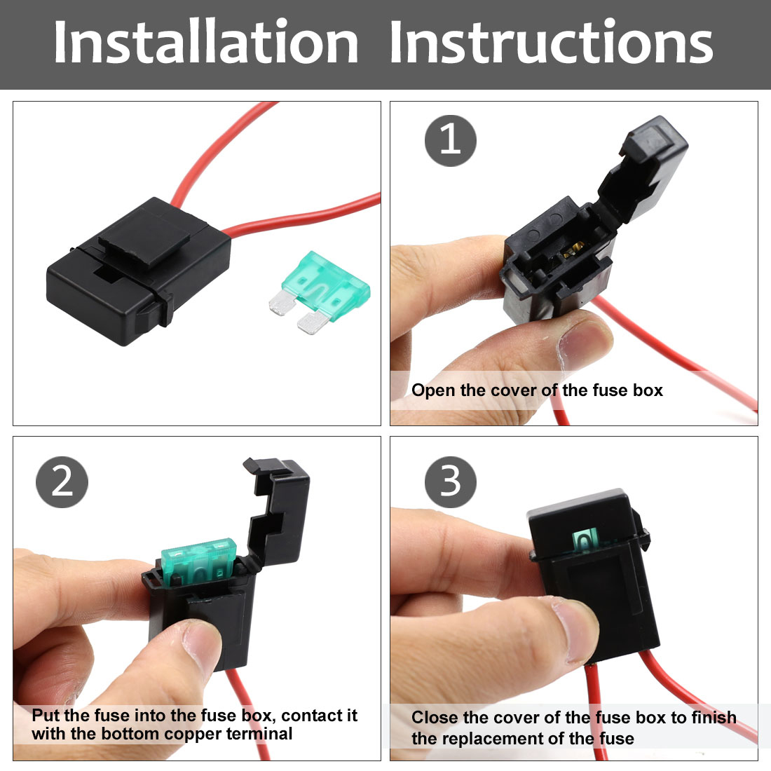 hight resolution of 2pcs universal dc 32v waterproof car in line blade style fuse holder w 30a fuse