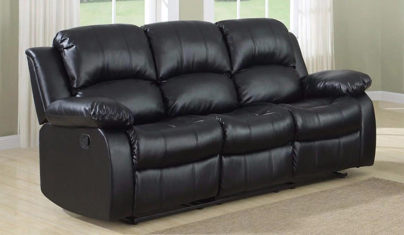 3 seater sofa black leather costco uk classic seat bonded double recliner walmart com
