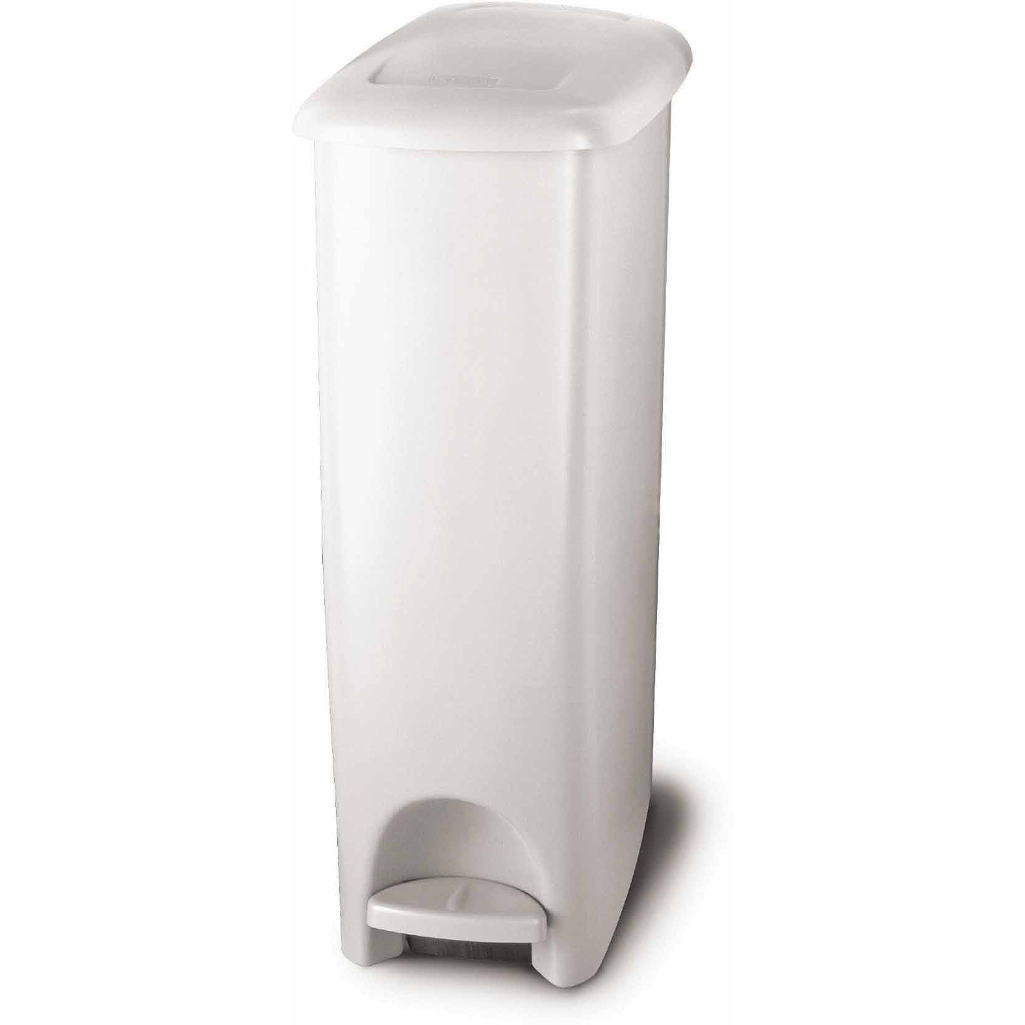 slim kitchen trash can farmhouse chairs step on fit easily wipe clean plastic