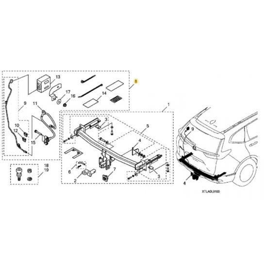 Honda 08L91-TLA-100 Trailer Hitch Harness Honda CR-V