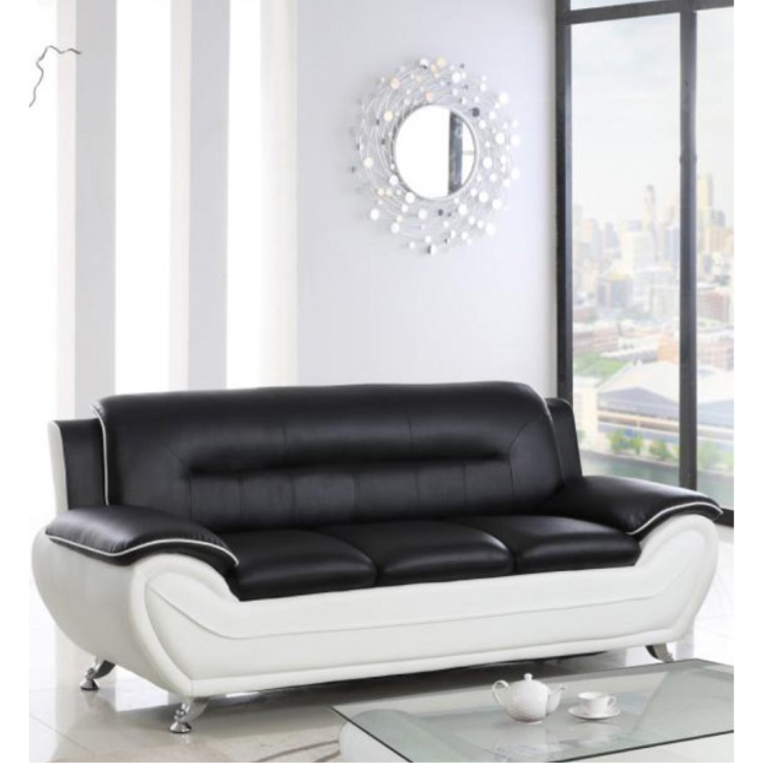 viscologic paradise pillow top premium faux leather sofa couch loveseat arm chair for home office living room black white