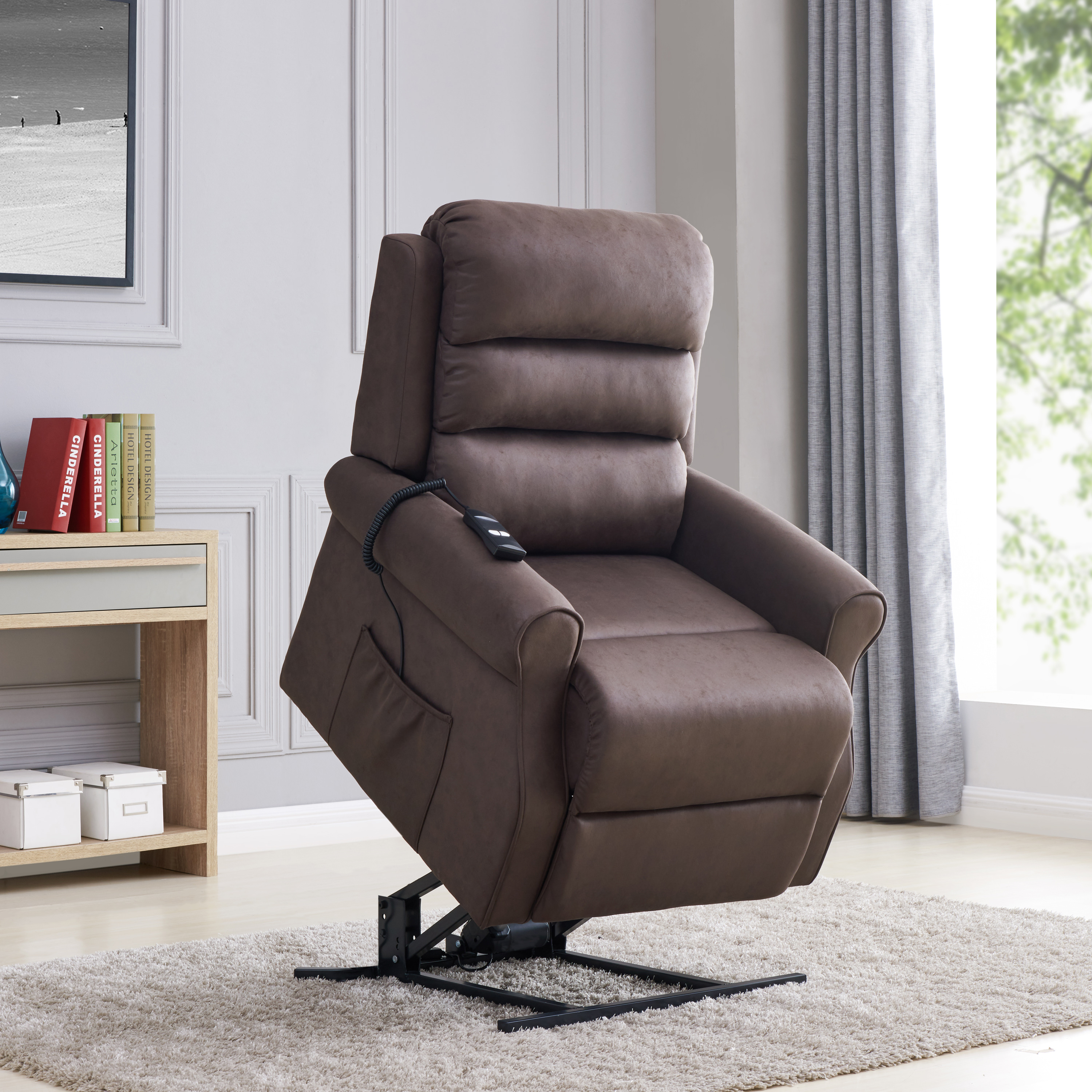 home meridian lift chair repair slipcovered dining chairs recliners walmart com product image linder power recliner and in chocolate nubuck