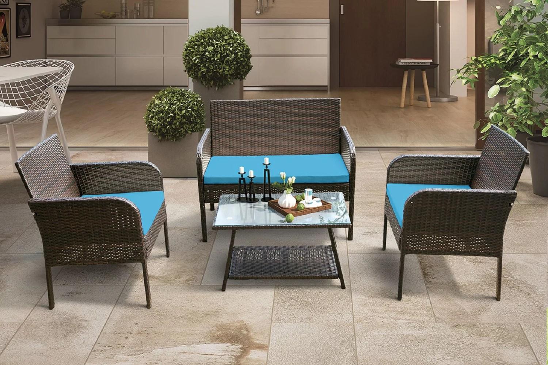 4 piece outdoor furniture wicker sets on sale segmart conversation sofa sets for patio garden w loveseat seats 2 armchair sofas coffee dining