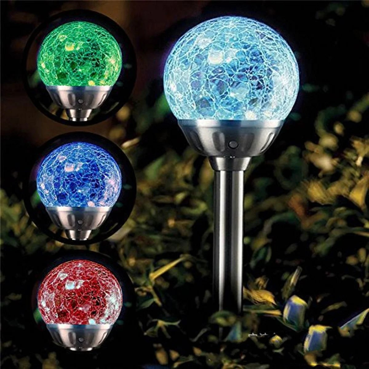 solar garden lights outdoor 4 pack solar globe light stakes color changing led landscape decorative pathway lighting auto on off dusk to dawn