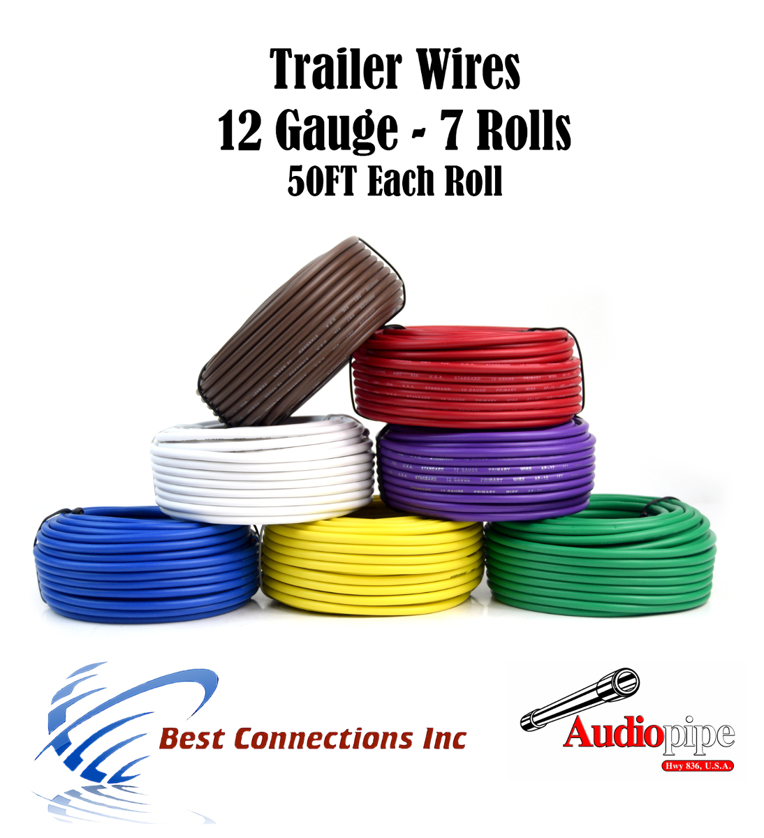 hight resolution of 7 way trailer wire light cable for harness 50 ft each roll 12 gauge 7 colors walmart com