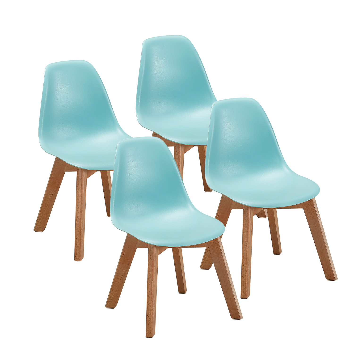 Toddler Wooden Chair Vecelo Toddler Pre School Chair Dining Chairs Kids 4 Set Wooden Legs With Rubber Foot Protector Comfortable Height Eco Friendly Plastic Light Blue