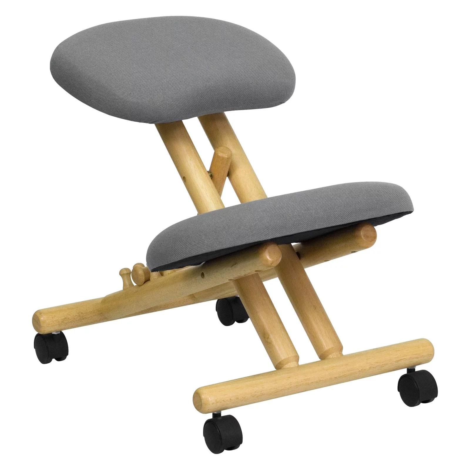 ergonomic chair kneeling posture custom patio cushions wooden office grey walmart com