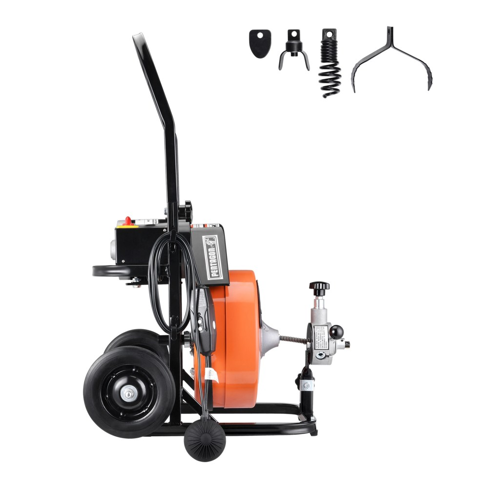 medium resolution of drum power auger 1 2 by 50ft electric drain cleaner snake compact with built in gfci for pipes 2 in diameter to 4 plumbing snake by pentagon tool