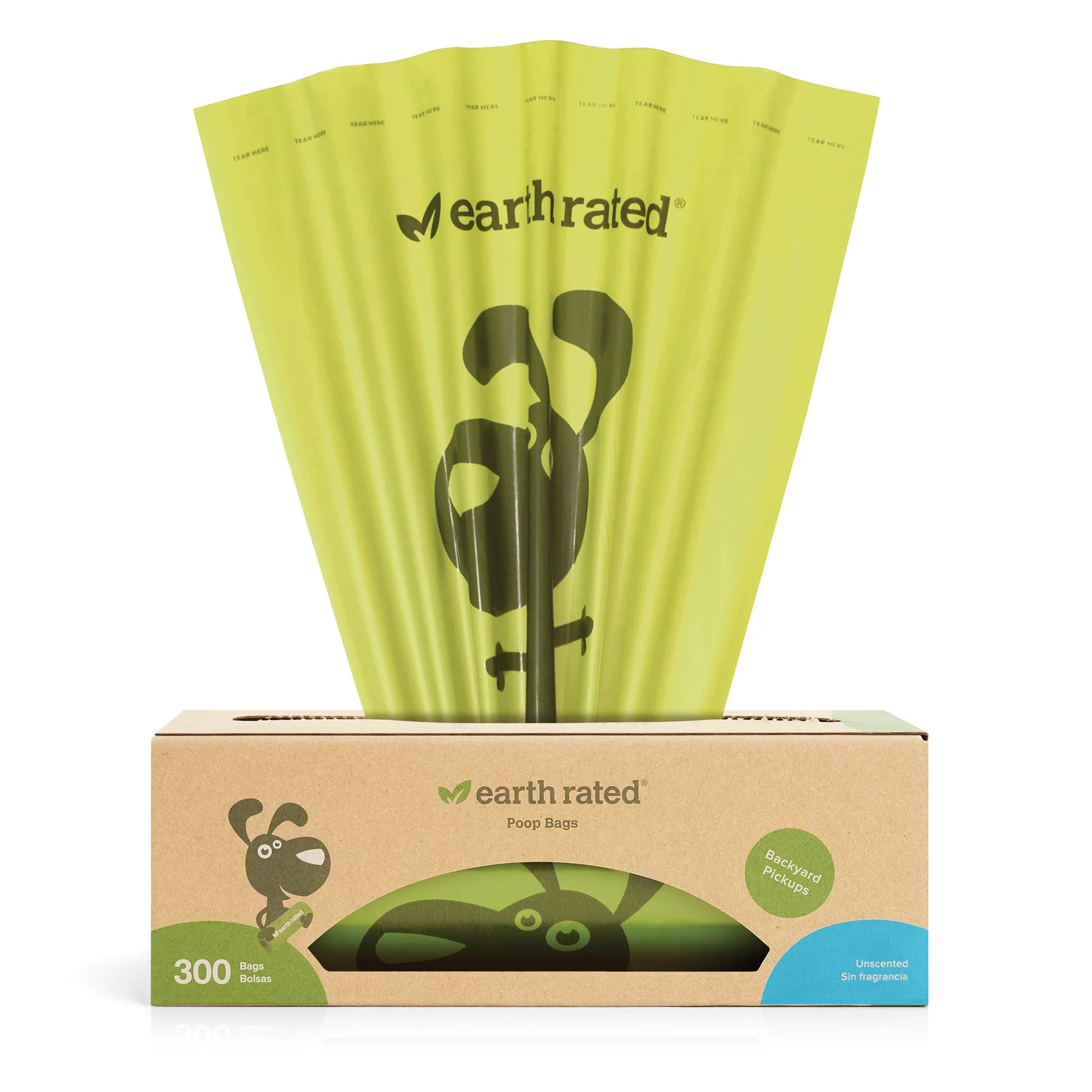 Earth Rated® Dog Poop Bags, 300 Unscented Bags on a Single Roll