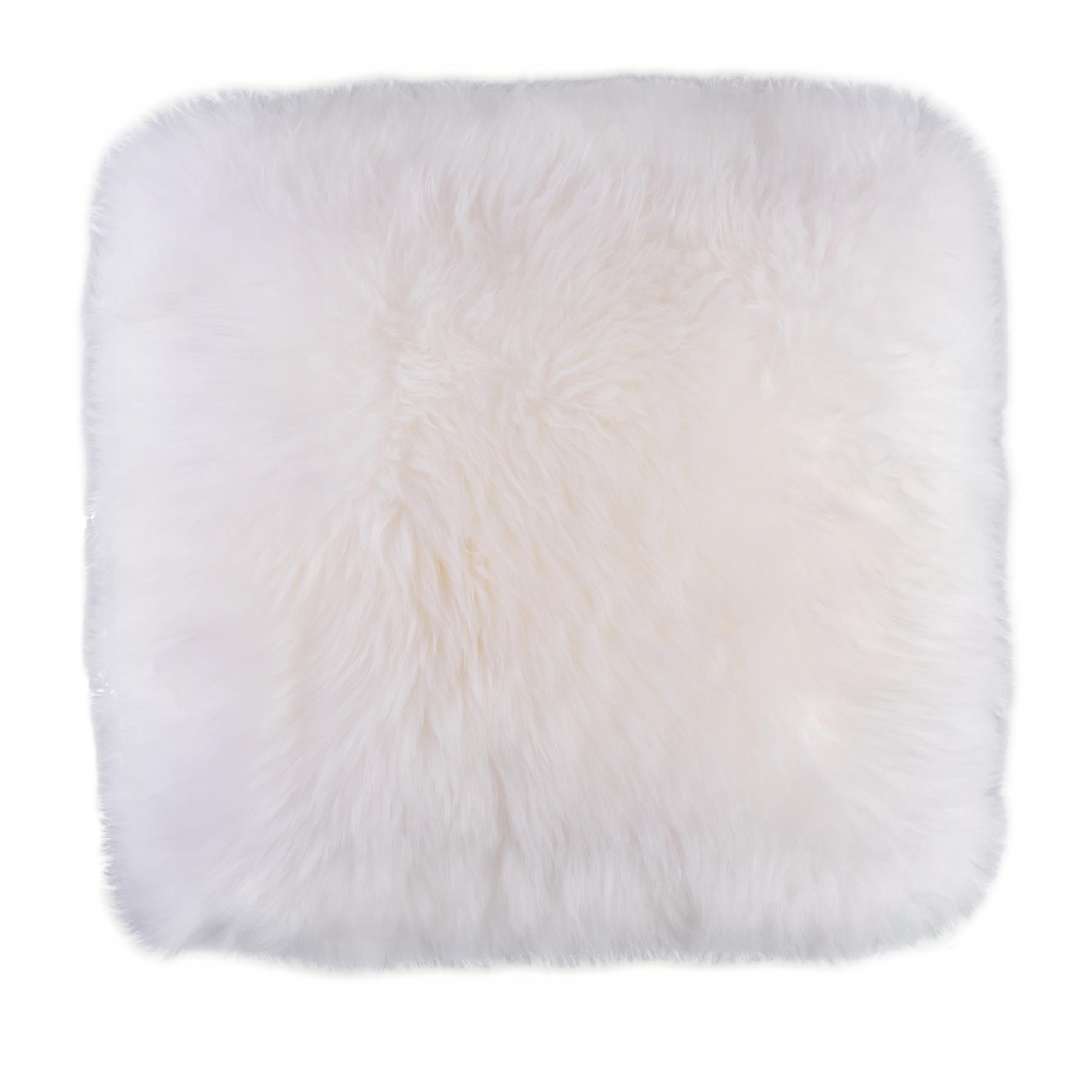 genuine australian lamb fur sheepskin square pillow cover 16 in white