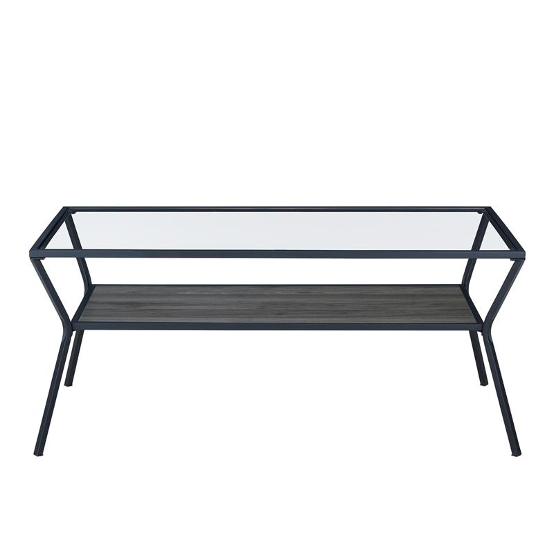 42 modern metal and glass coffee table slate grey