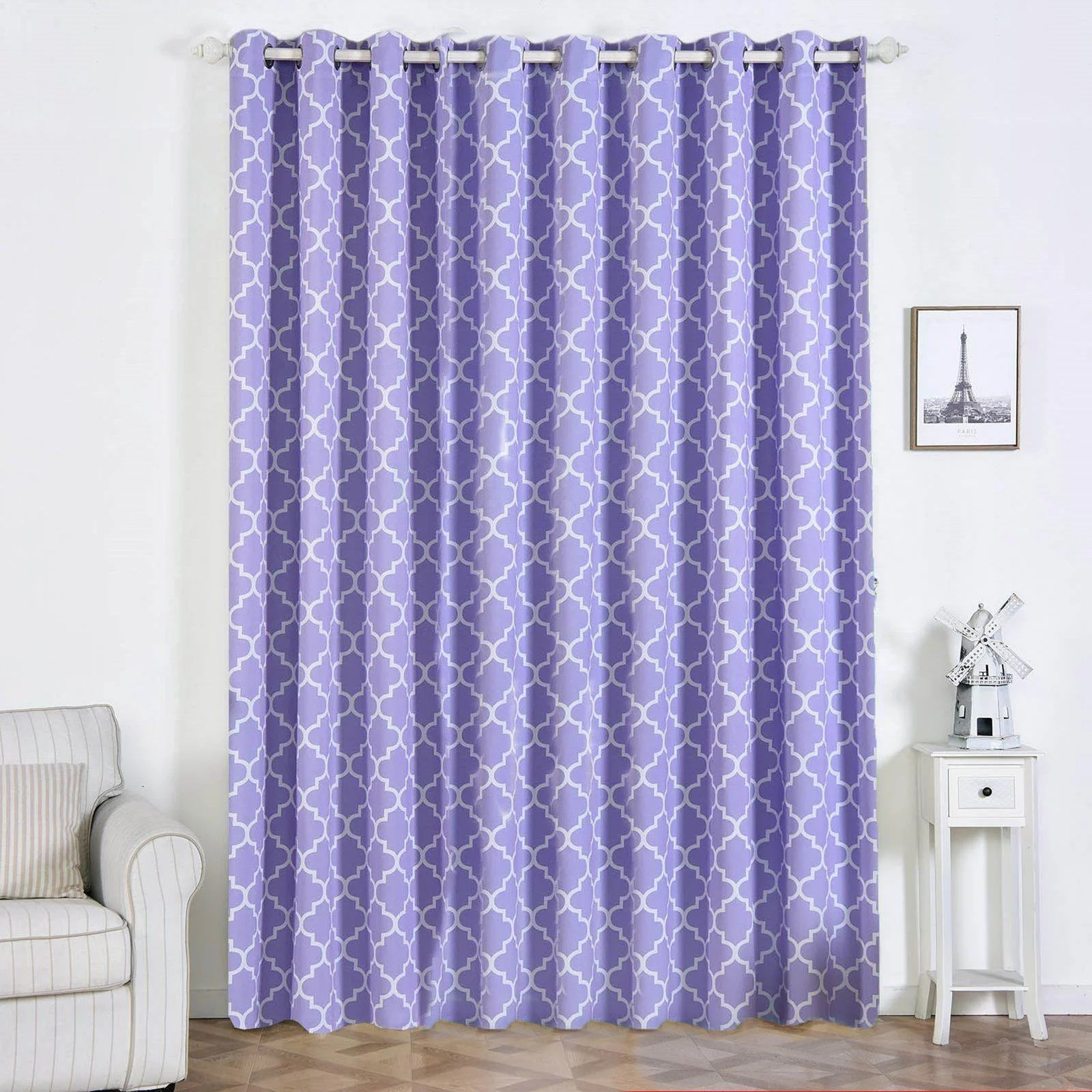trellis curtain panels 2 packs white lavender blackout curtains 52 x 108 inch grommet curtains room darkening curtains with grommets