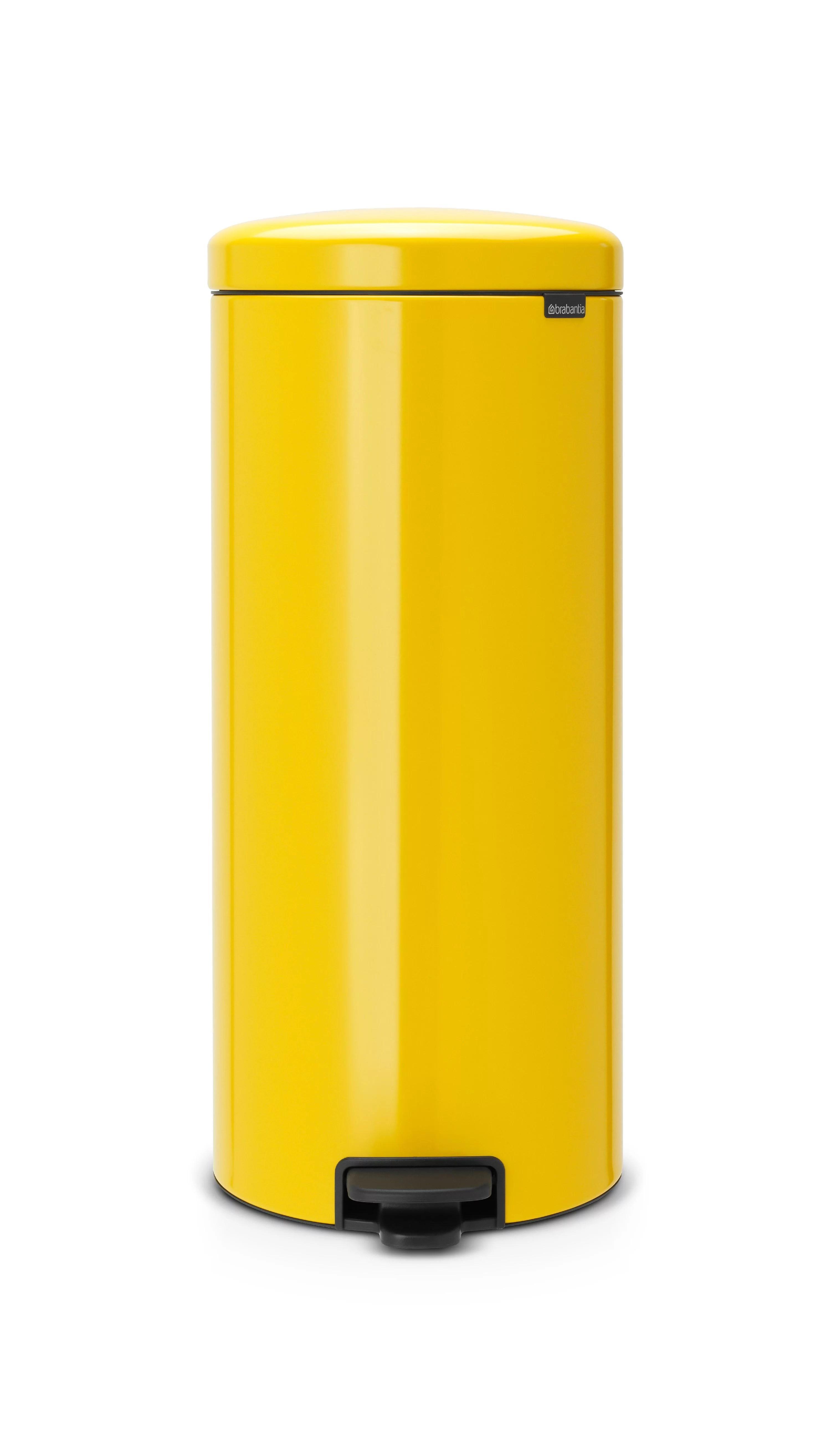 30 gallon kitchen trash can scrub brush holder brabantia newicon 8 30l daisy yellow