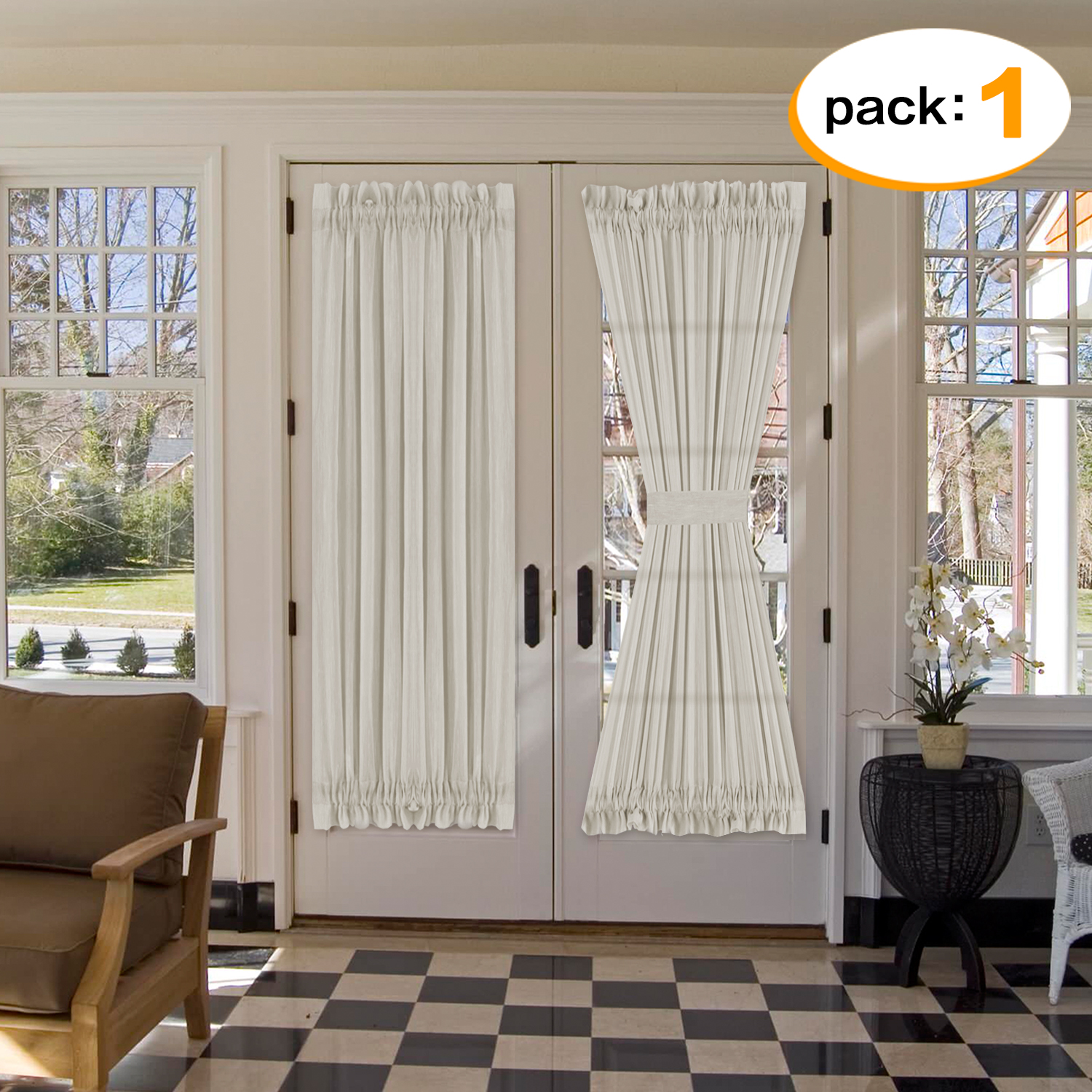 h versailtex privacy assured linen sheer curtain panel for glass door airy and breathable rod pocket top french door curtain 52 width x 72