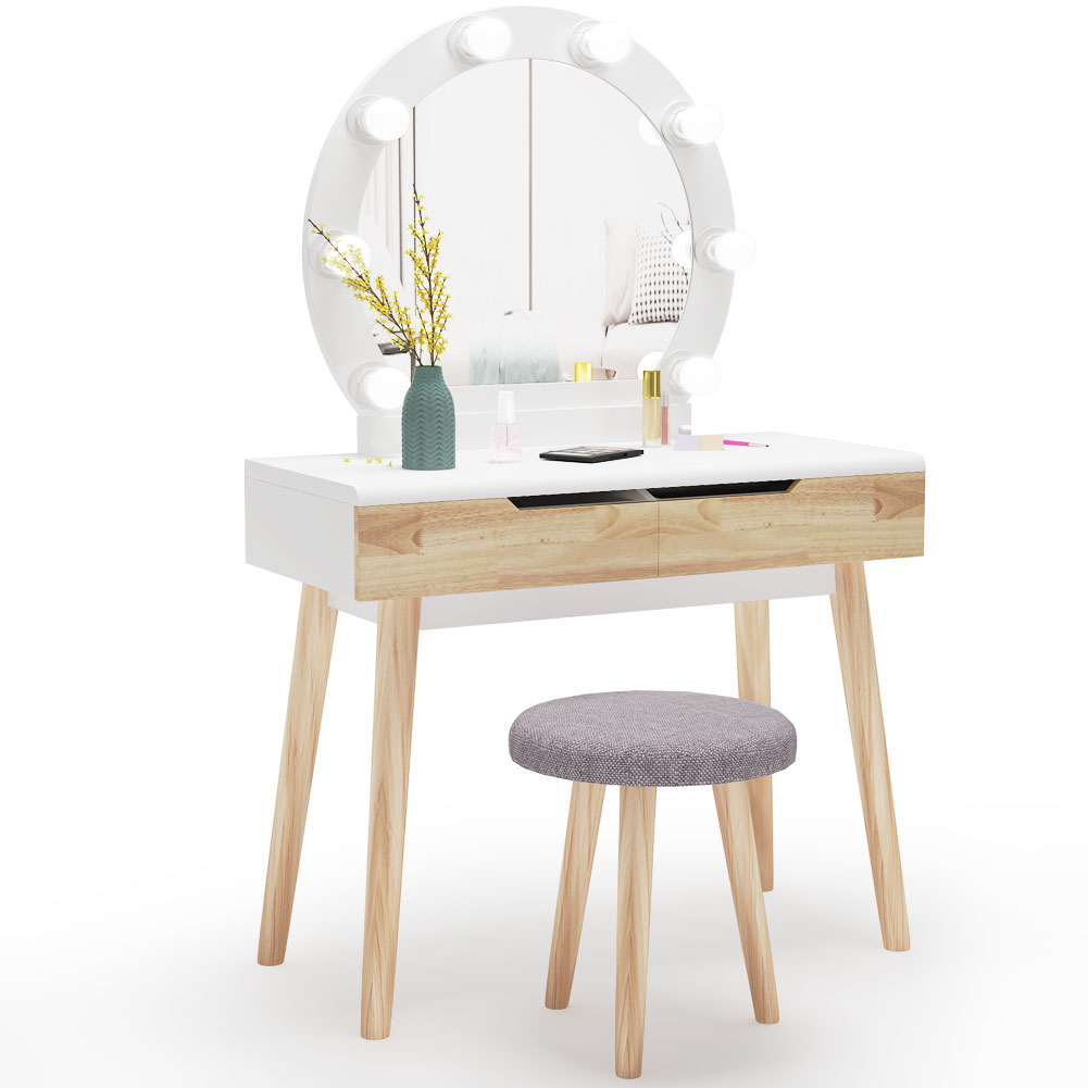 tribesigns vanity set with round lighted mirror wood makeup vanity dressing table dresser desk with 2 drawers and cushioned stool for bedroom white