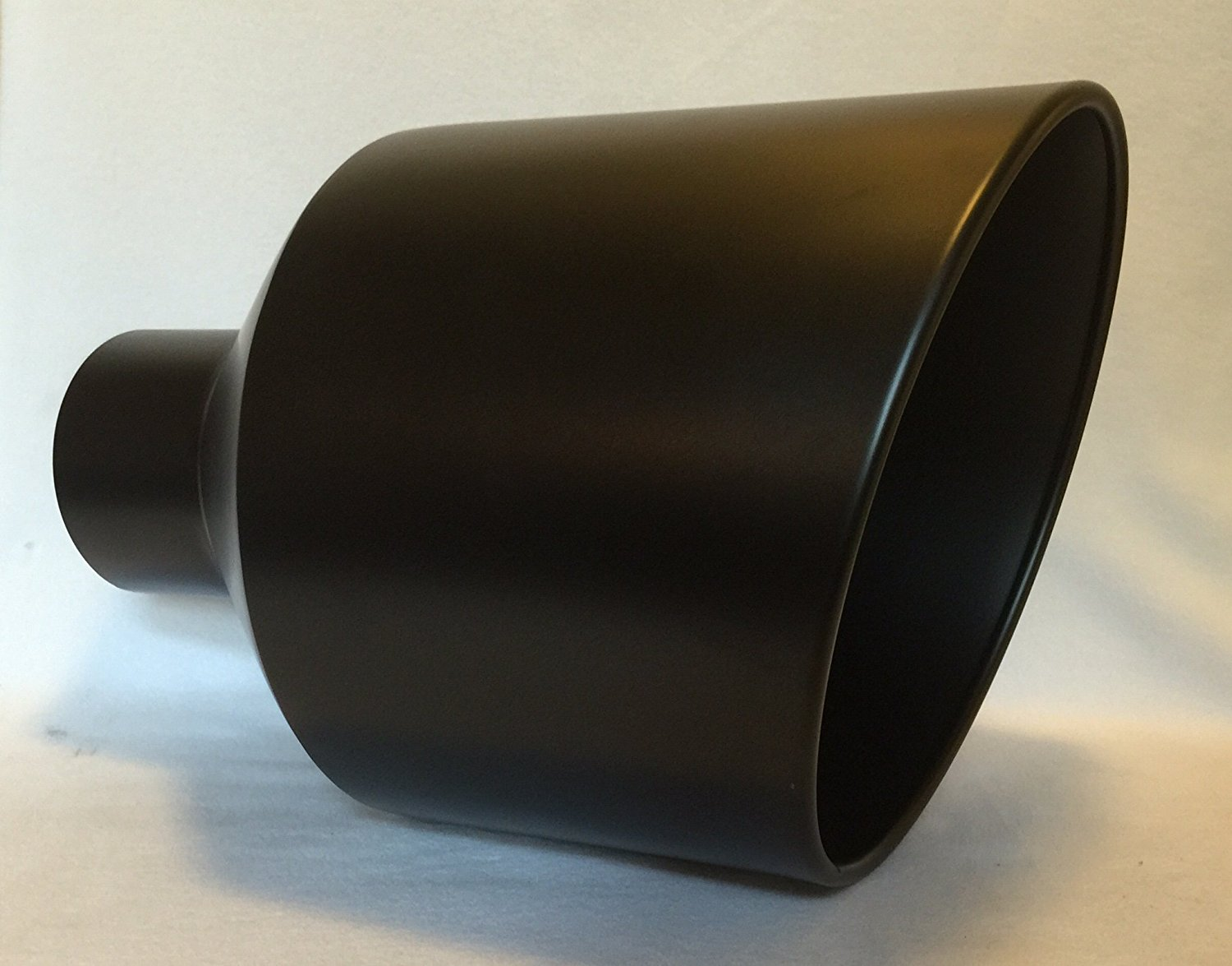 5 inlet x 12 outlet x 18 long rolled edge flat black diesel exhaust tail pipe tip weld on