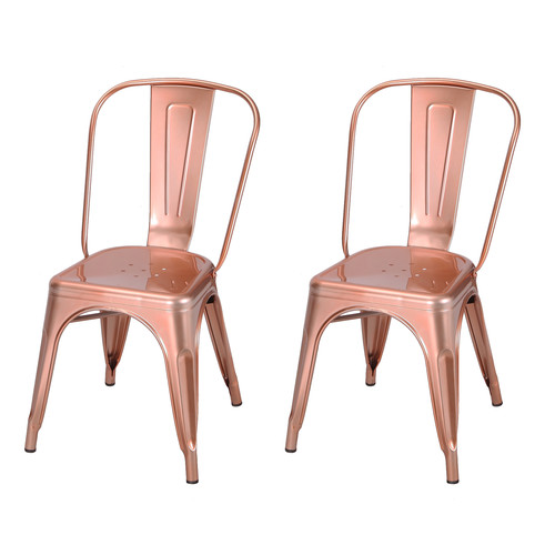 metal bistro chairs posture leather chair adeco glossy rose gold tolix style set of 2 extra 10 off at checkout walmart com