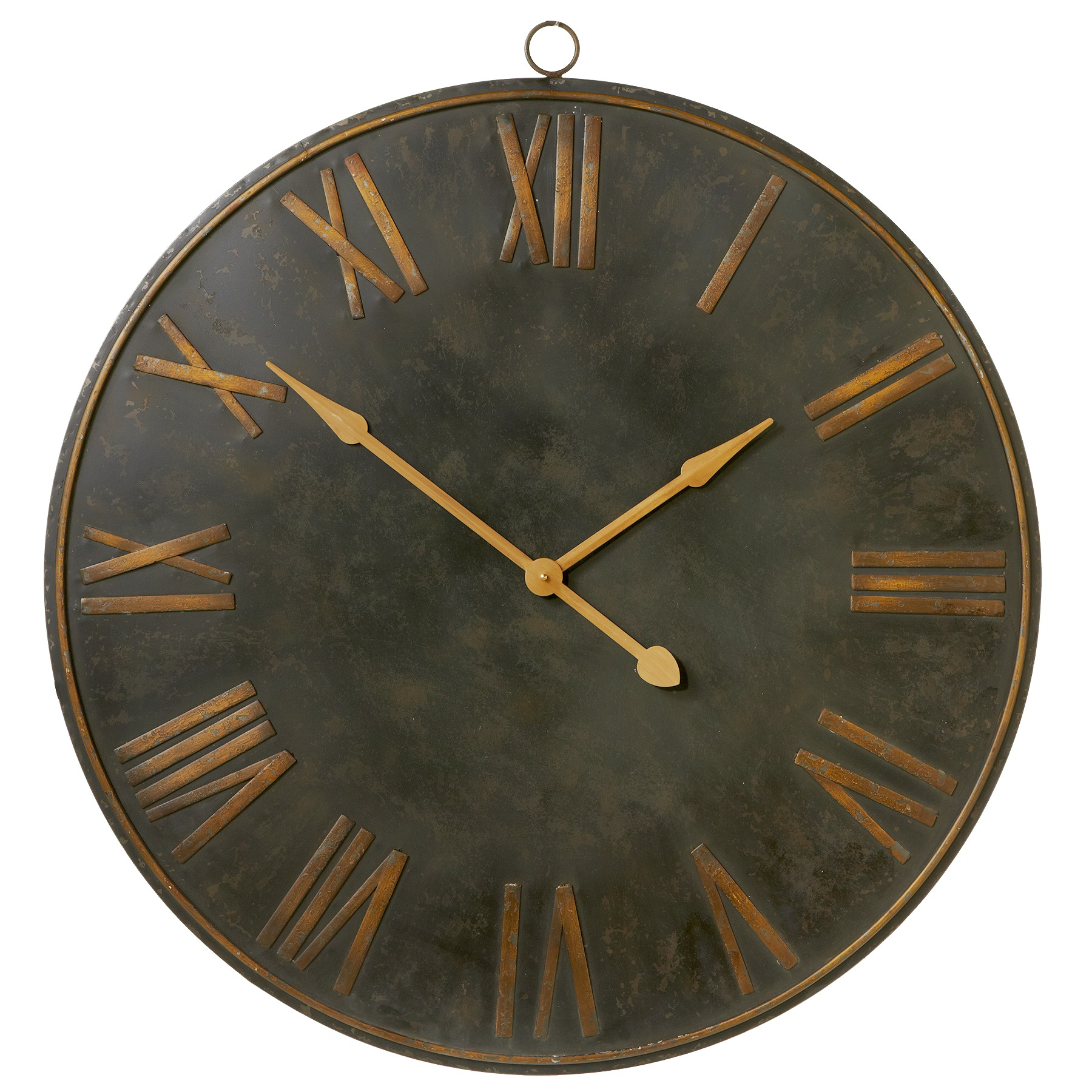 Cbk Metal Distressed Black With Gold Roman Numeral Wall