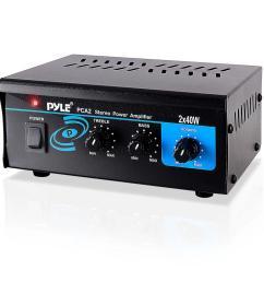 pyle pca2 stereo power amplifier compact audio amp with rca speaker terminals 2 x 40 watt walmart com [ 1000 x 1000 Pixel ]