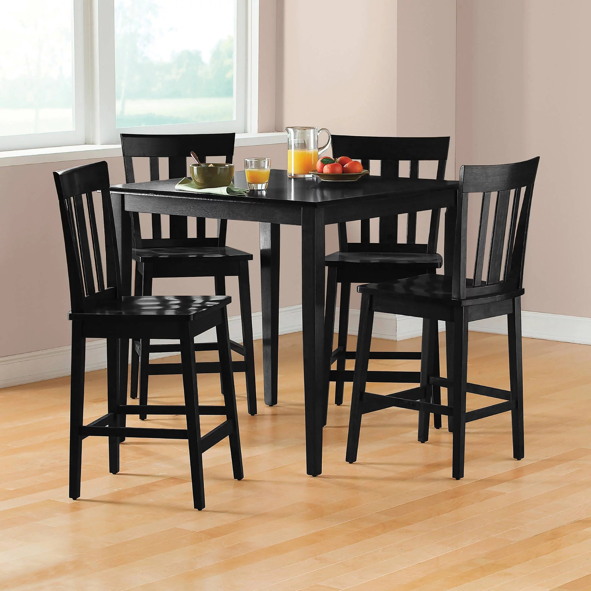 high table and chairs for kitchen chair alternatives mainstays 5 piece mission counter height dining set walmart com