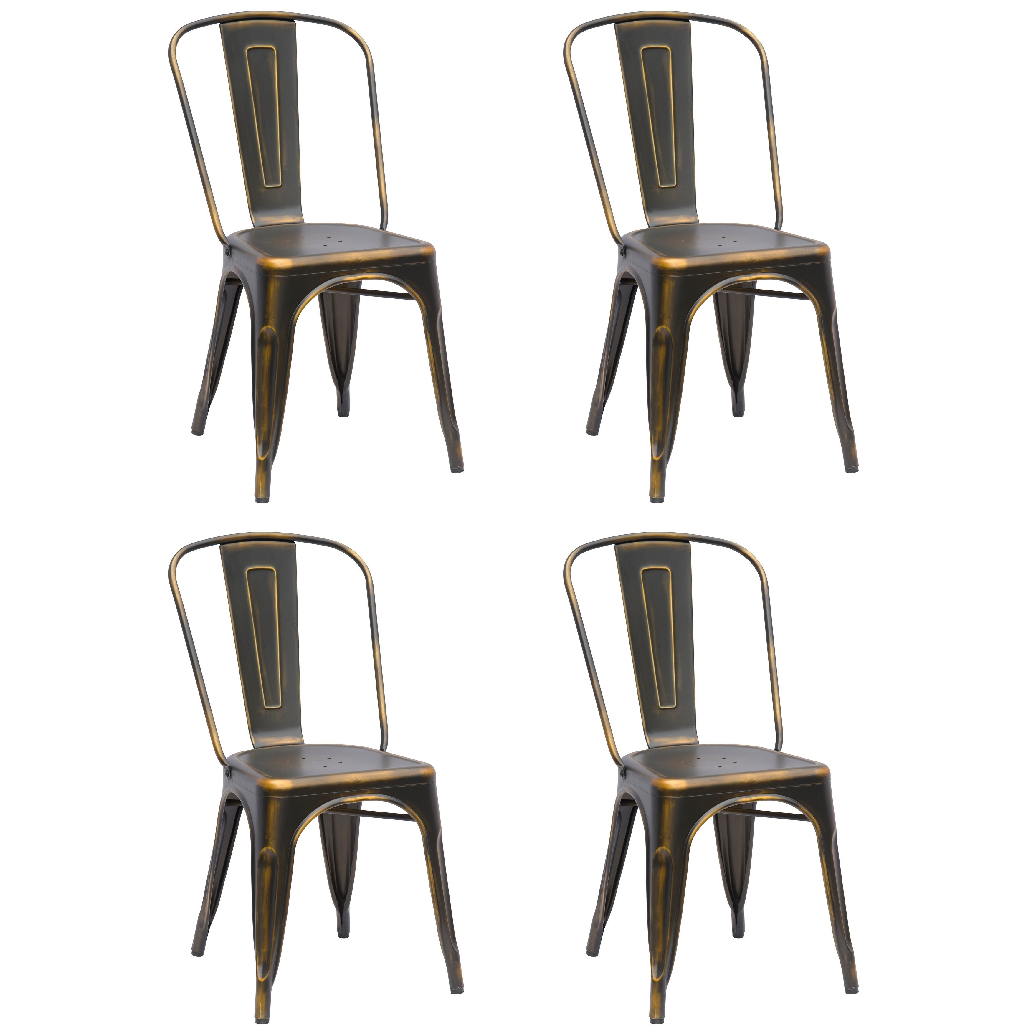 Galvanized Steel Chairs Somette Vintage Galvanized Steel Dining Chair Set Of 4