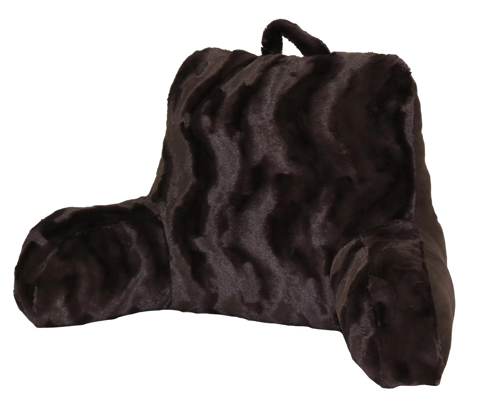 better homes gardens swirls faux fur backrest pillow chocolate