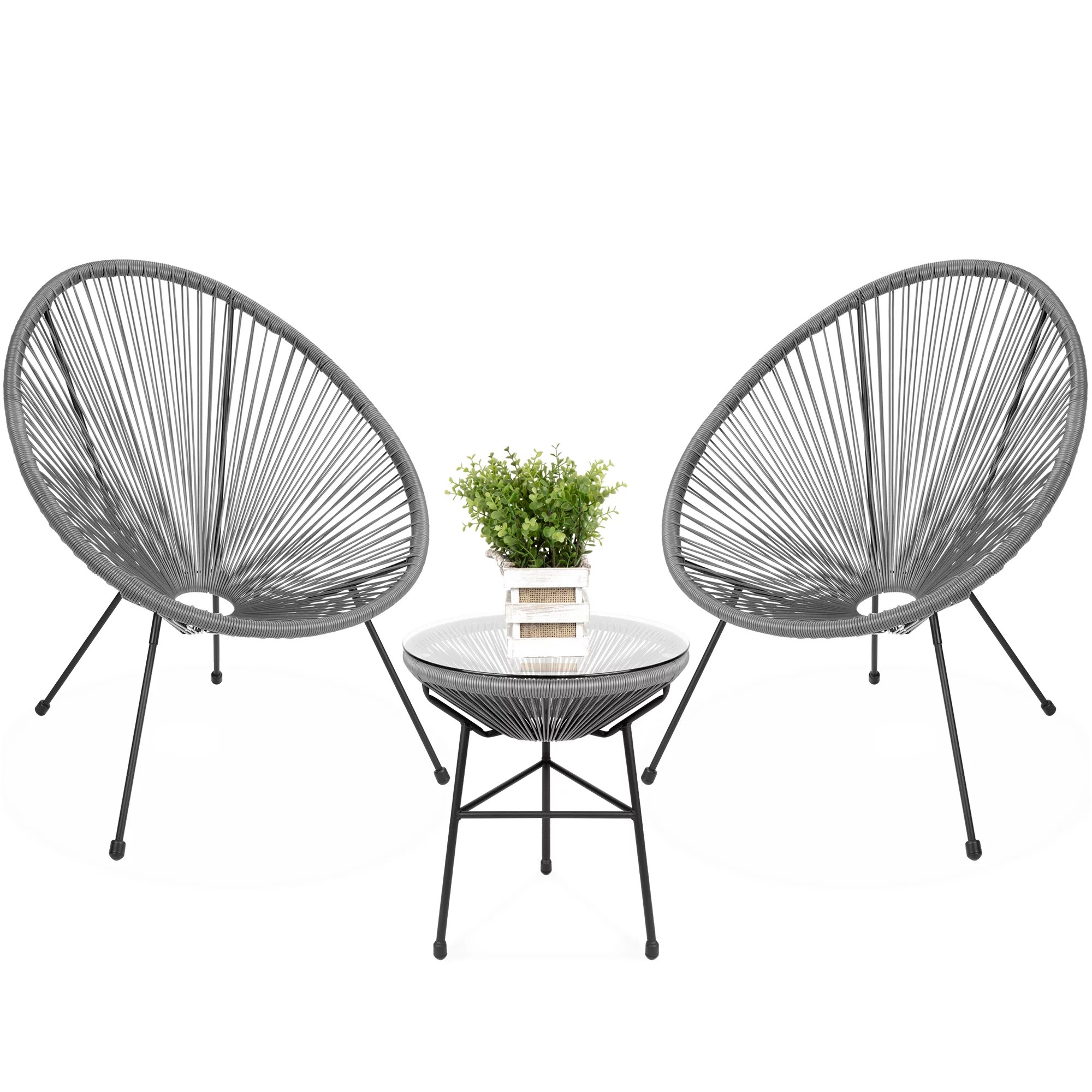 best choice products 3 piece all weather patio acapulco bistro furniture set w rope glass top table gray walmart com