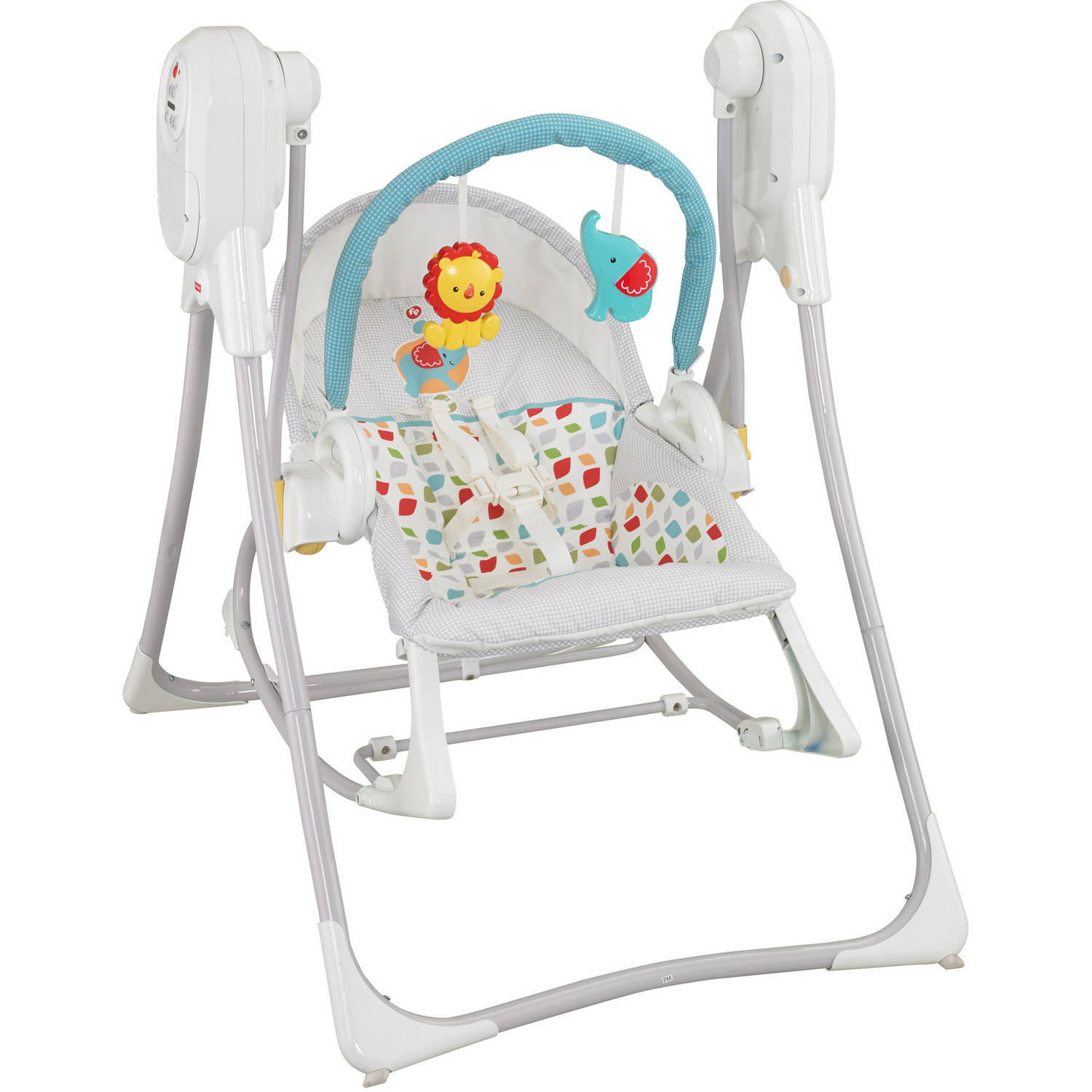 swing chair dragon mart wood kitchen table and chairs bright starts portable safari smiles walmart
