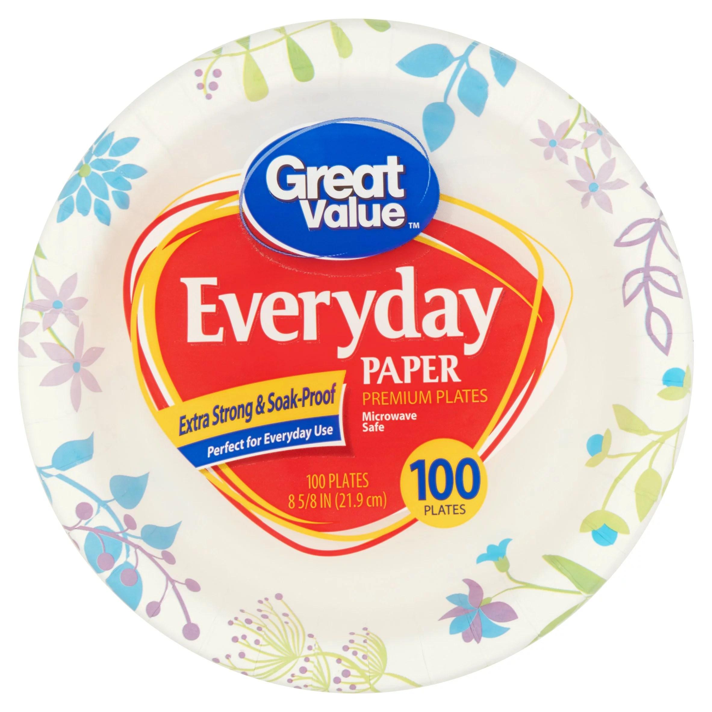 Great Value Everyday Paper Premium Plates 100 count