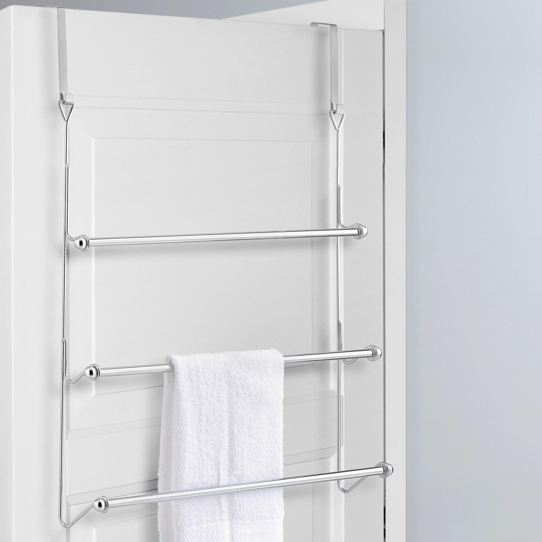 mygift 3 tier over the door bathroom towel bar rack with chrome plated finish