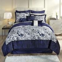 Kardashian Collection Indigo Blue Full Bed Comforter Set ...