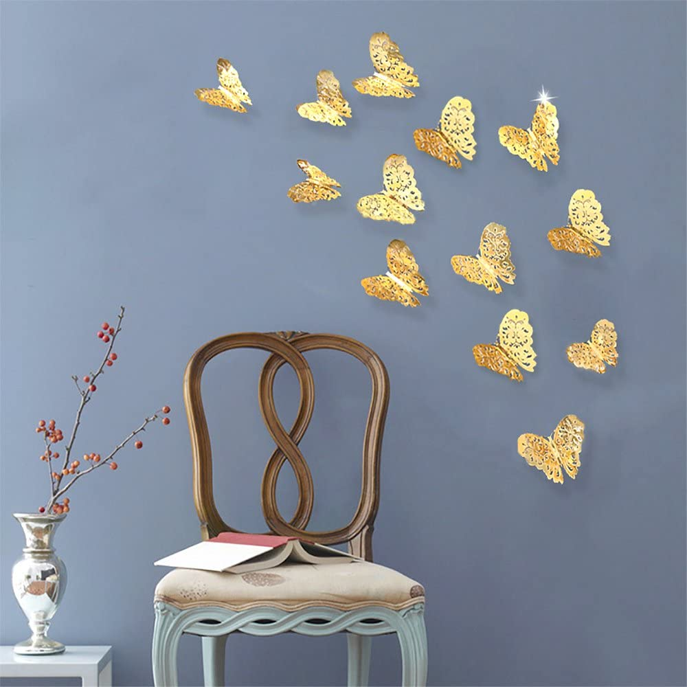 Gold Butterfly Decorations Stickers 3d Butterflies Wall Decor Diy Home Decorations Removable Wall Decals Murals For Home Living Room Babys Kids Bedroom Showcase Nursery Art Decor 36pcs Walmart Canada