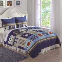 Denim and Khaki Sports Bedding Quilt Set - Walmart.com