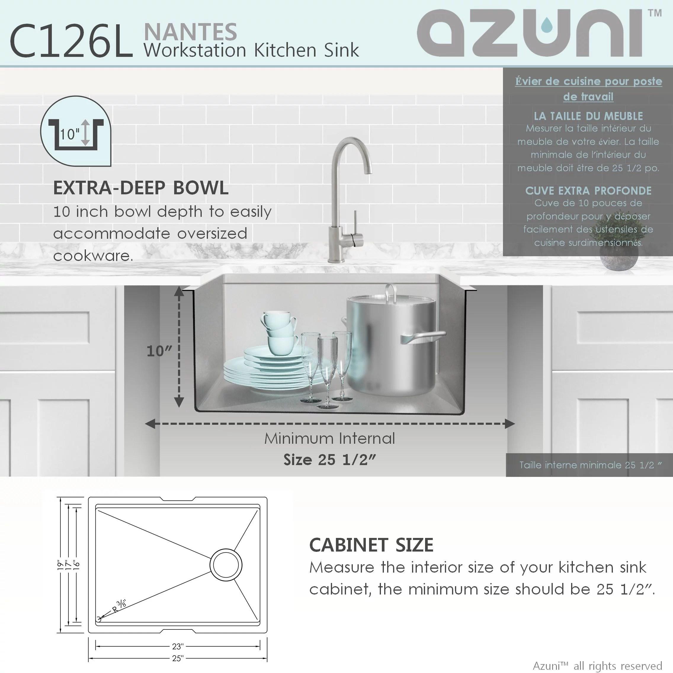 azuni 25 l x 19 w single bowl undermount 16g reversible workstation kitchen sink with accessories c126l