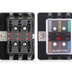 tsv led illuminated automotive blade fuse holder box 6circuit fuse block walmart com [ 1600 x 1600 Pixel ]